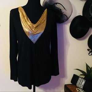 Michael Kors Golden Chain Neck Top